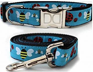 """product image for Diva-Dog 'Lady Bugs & Bumble Bees' Custom Small Dog 5/8"""" Wide Dog Collar with Plain or Engraved Buckle, Matching Leash Available - Teacup, XS/S"""