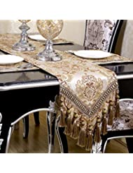 QXFSMILE Modern Jacquard Floral Table Runner Handmade Tassel Embroidered Table  Runners Khaki 13 By 136 Inch Multi Tassels