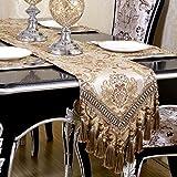 QXFSMILE Modern Jacquard Floral Table Runner Handmade Tassel Embroidered Table Runners Khaki 13 By 96 Inch Multi-tassels
