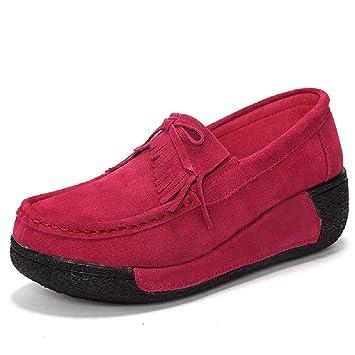 ZHRUI Zapatos Mocasines con borlas de Mujer Zapatos Mocasines con Cordones de Plataforma (Color : Rojo, tamaño : EU 39): Amazon.es: Hogar