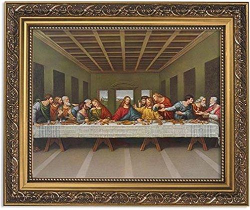 Gerffert Collection Da Vinci's The Last Supper Framed Landscape Print, 13 Inch (Ornate Gold Tone Finish Frame)