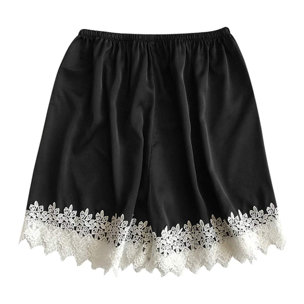 Clearance Sale ! Womens Sexy Lace Shorts Sleep Pants Sleepwear Nightwear Nightgown Pajamas Plus Size S-3XL (Black, XXX-Large)