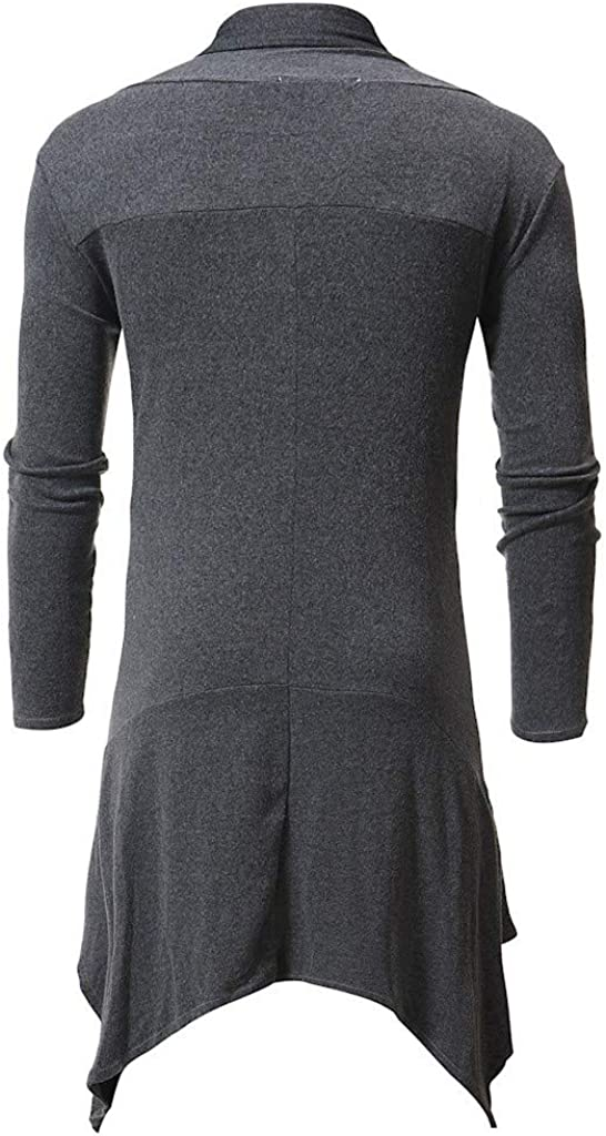 Mens Shawl Cardigan NDGDA Male Long Sleeve Draped Lightweight Open Front Longline Loose Medium Length Coat Outwear Cardigan