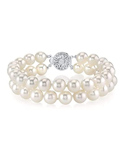 THE PEARL SOURCE Sterling Silver AAAA Quality Round White Freshwater Cultured Pearl Double Strand Bracelet for Women