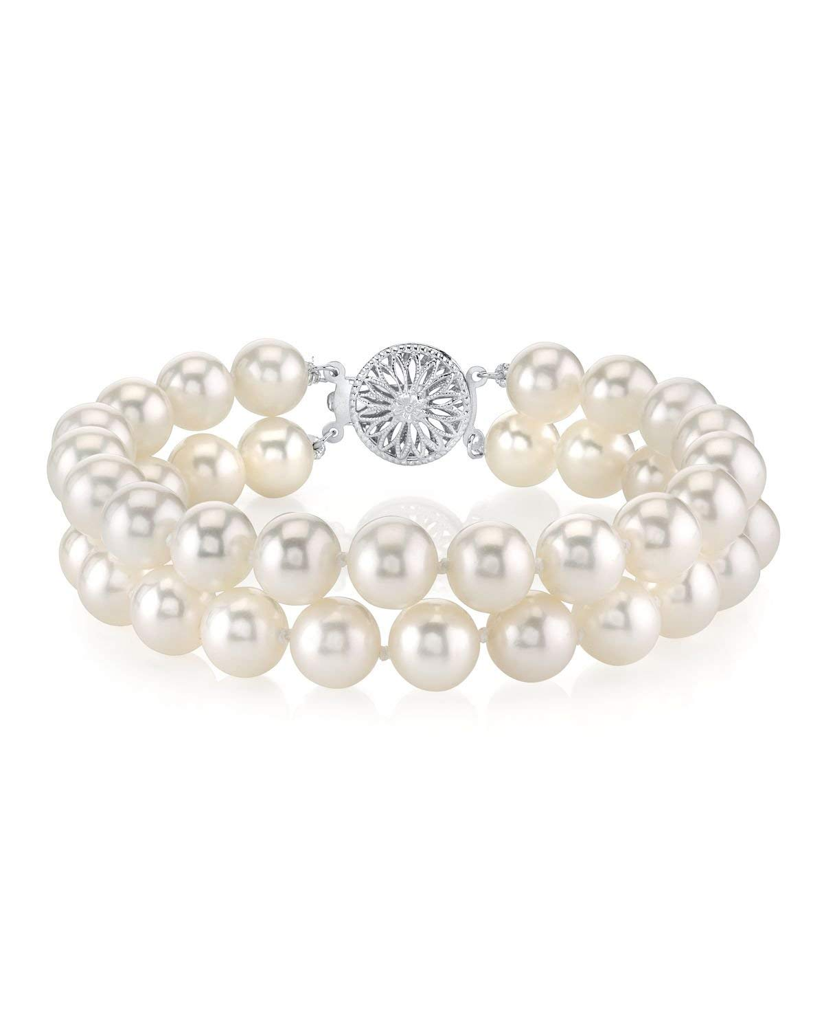 THE PEARL SOURCE Sterling Silver 8-9mm AAA Quality Round White Freshwater Cultured Pearl Double Strand Bracelet for Women