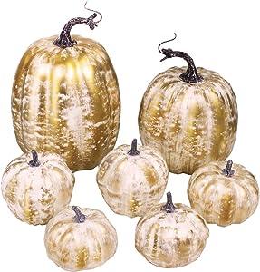 7 Pcs Assorted Size Artificial Pumpkins Rustic Faux Pumpkin Gold Brushed White Pumpkins for Fall Autumn Harvest FarmhouseThanksgiving Halloween Table Centerpieces Wedding Wreath Mantel Decorations