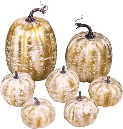 Amazon.com: 7 Pcs Assorted Size Artificial Pumpkins Rustic Faux Pumpkin Gold Brushed White Pumpkins for Fall Autumn Harvest FarmhouseThanksgiving Halloween Table Centerpieces Wedding Wreath Mantel Decorations: Home & Kitchen