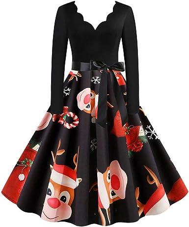 Vestido navideño Vintage,Años 50 Hepburn Vintage Swing Vestidos De ...