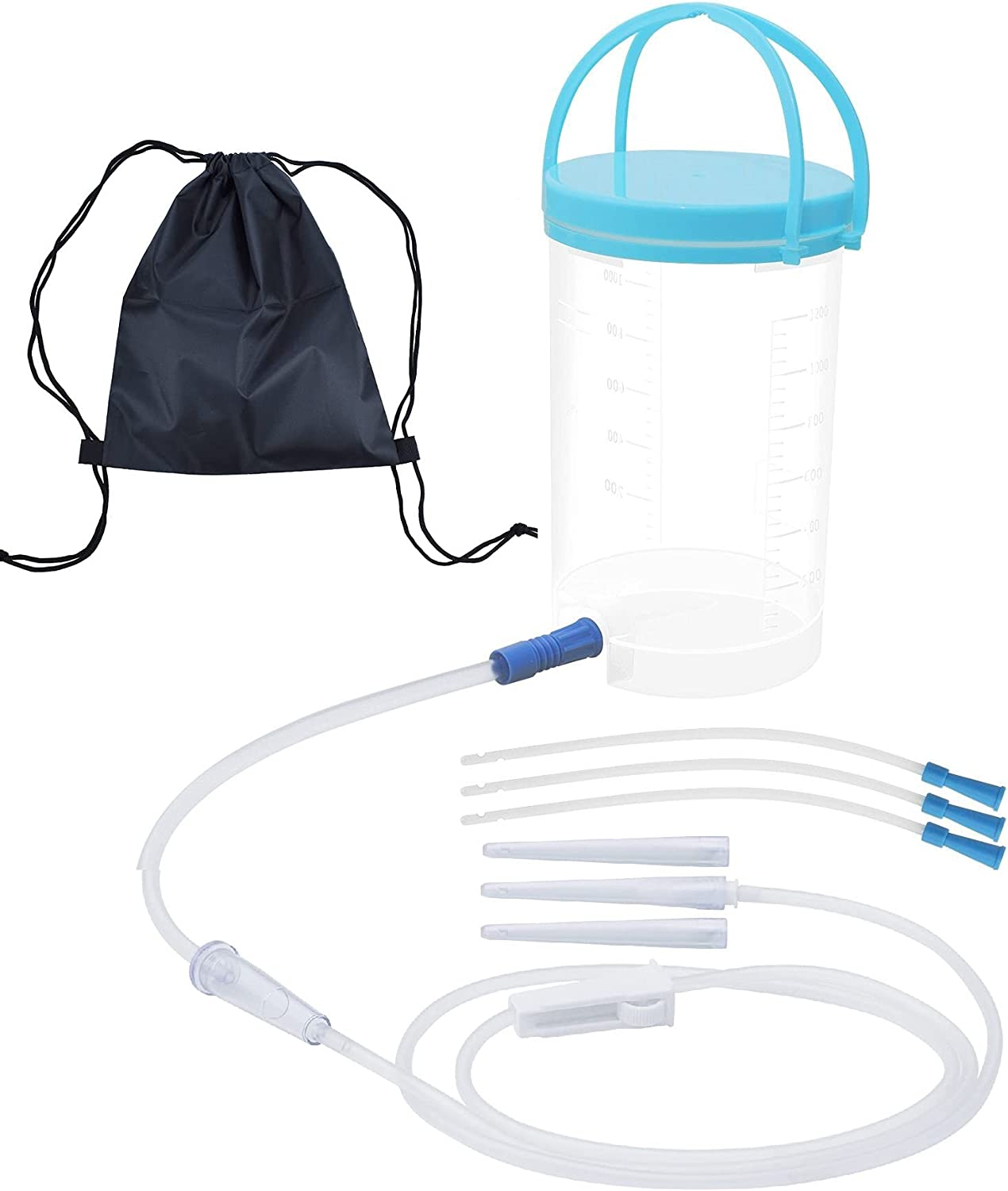Enema Kit, Coffee Enema Bucket Set for Colon Cleansing Health with 6ft Silicone Tubing 3pcs Colon Tube 3pcs Replacement Nozzle Tips Travel Bag Reusable BPA Free for Home Shower