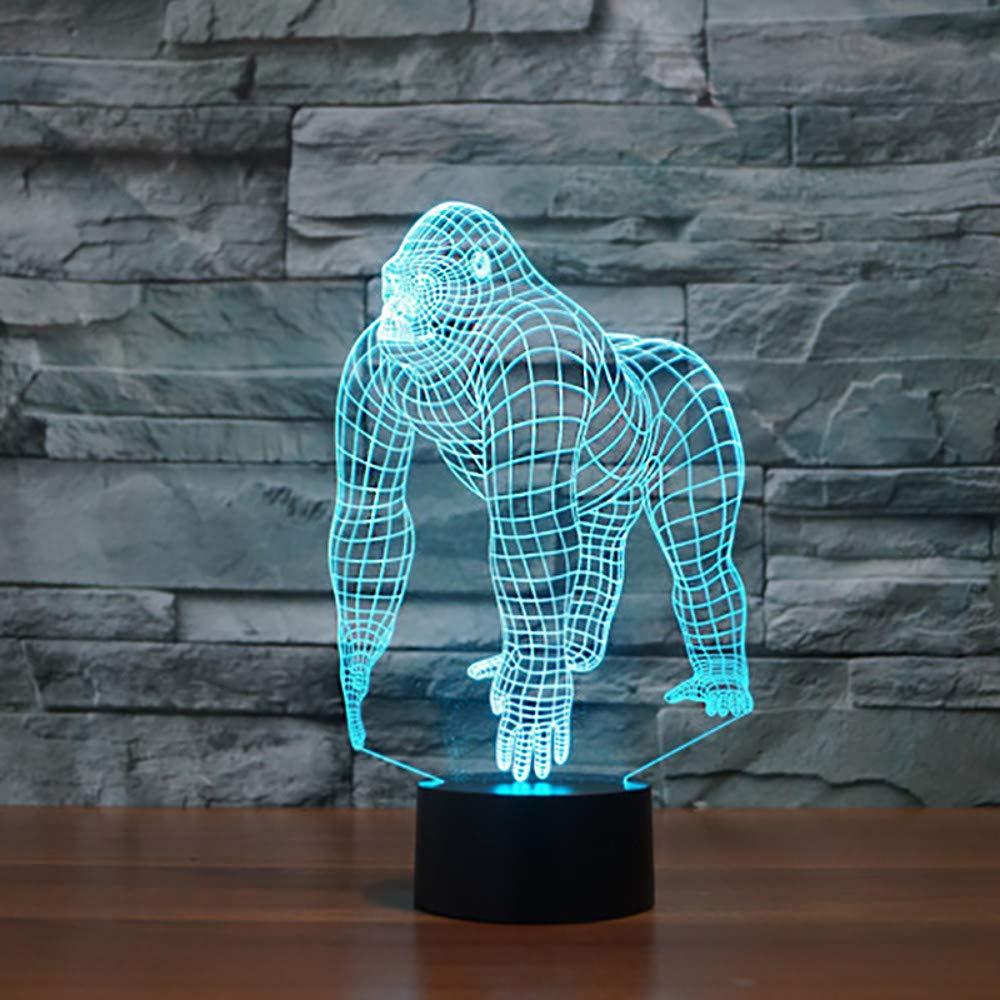 7 farben ändern 3d orang-utans lampara nachtlicht led tischlampe schimpanse schlaf lampe kreative leuchte spielzeug weihnachten geschenke