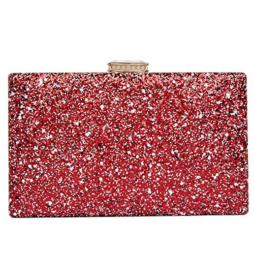 Sparkling Clutch Purse Elegant Glitter Evening Bags Bling Evening Handbag for Dance Wedding Party Prom Bride (Red)