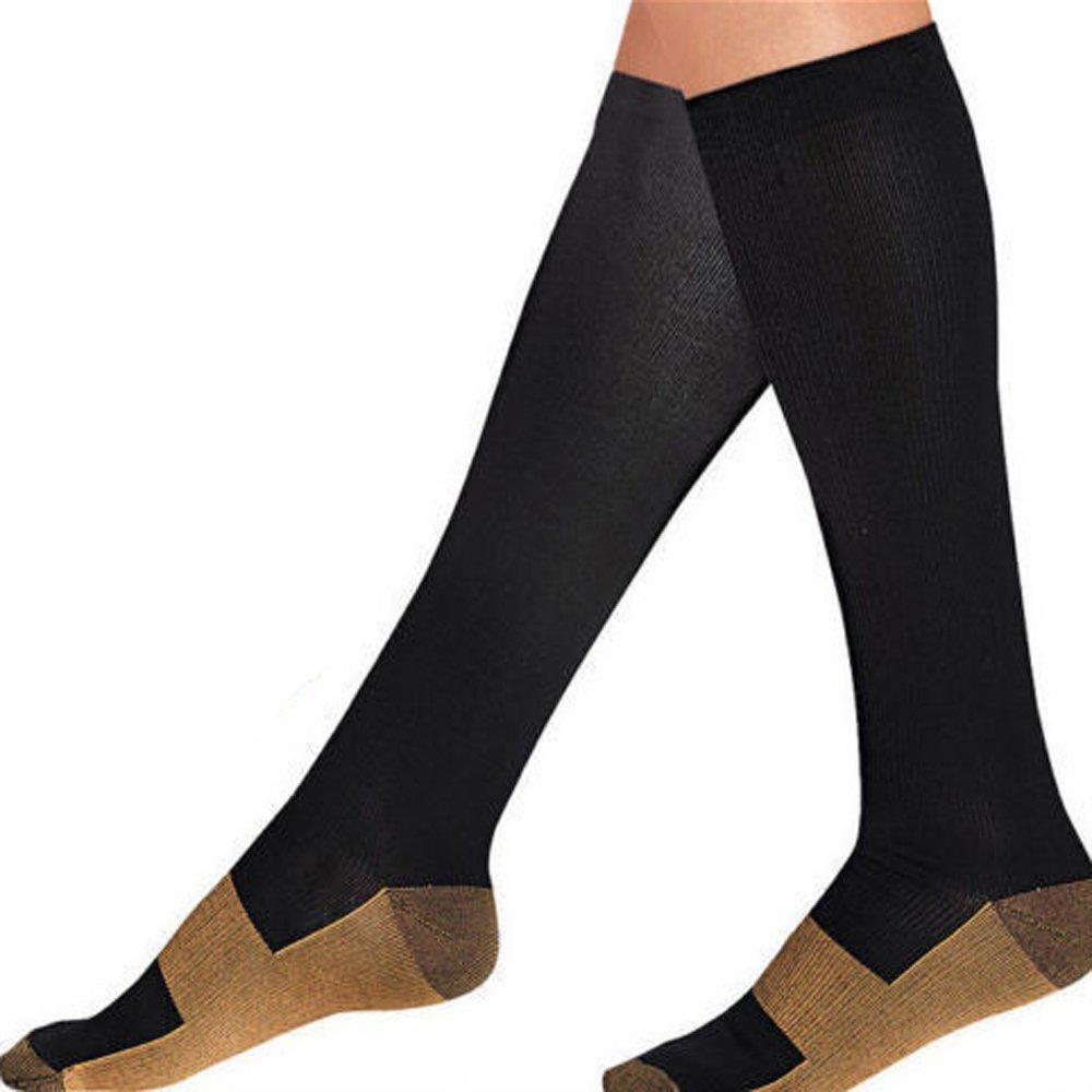 c4b9c399368 Amazon.com  EagleUS 1 Pair Copper Compression Socks Knee High Mens and  Womens Nursing Compression Socks