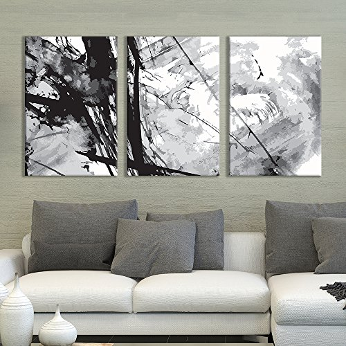 - wall26 - 3 Panel Canvas Wall Art - Black Cloud Abstract Heavy Splattered Brush Stroke Painting - Giclee Print Gallery Wrap Modern Home Decor Ready to Hang - 16