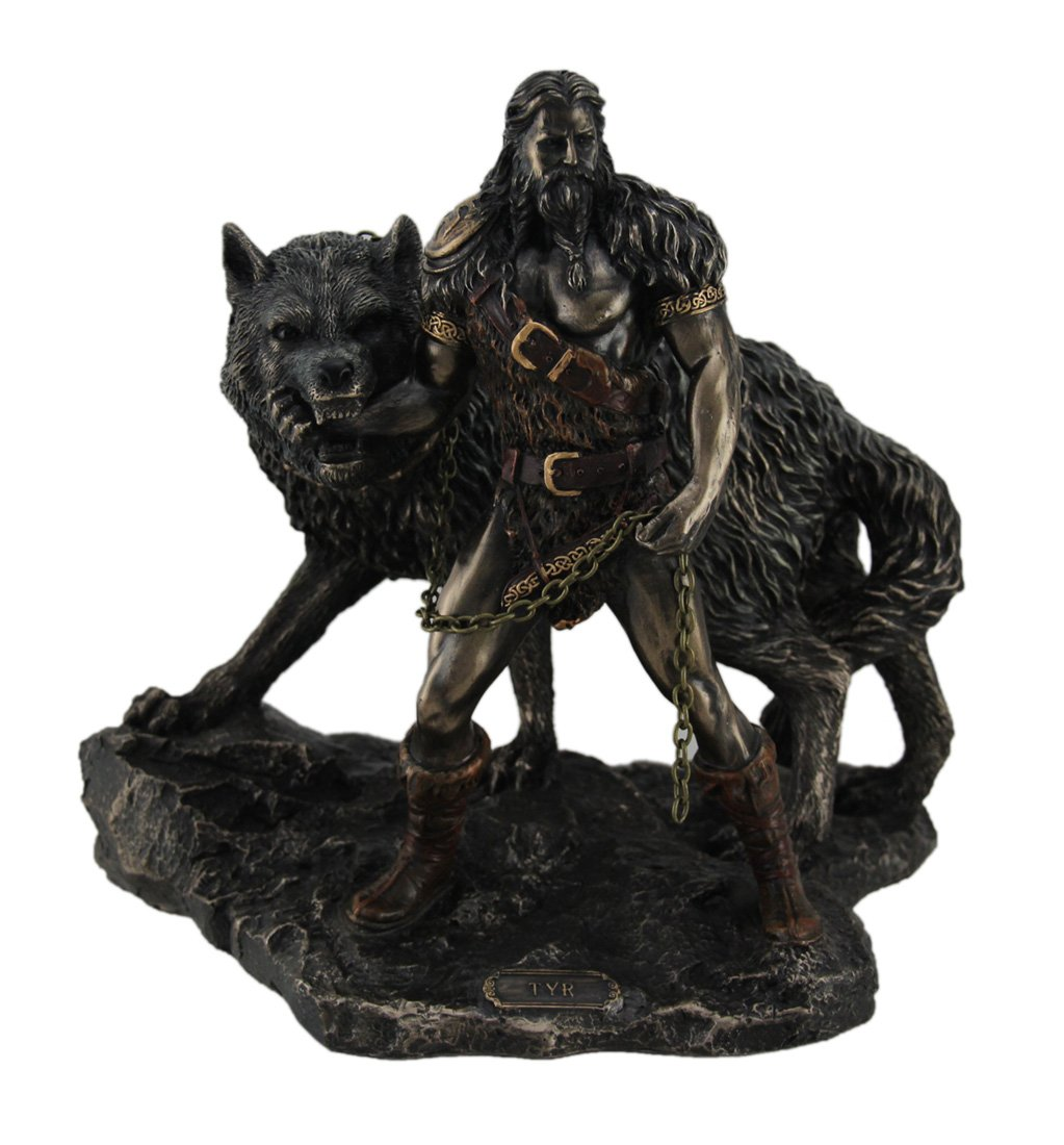 Norse God Tyr and the Binding of Fenrir Statue