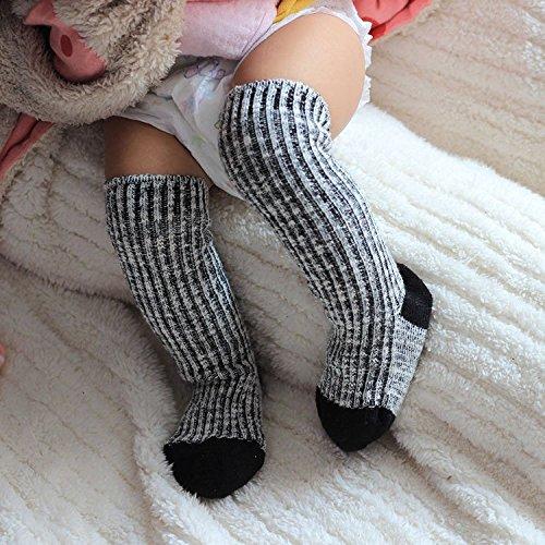 2pairs Cotton Handmade Diaper Baby Legging Infantil Socks Knee Protectors - Black