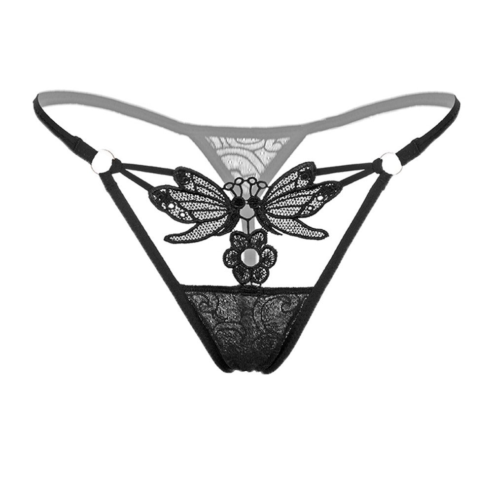 AOmahh Women Sexy Butterfly Flower Lace See Through Low Rise G-Strings Thongs Briefs Panties Women Underwear (Black, Free Size)