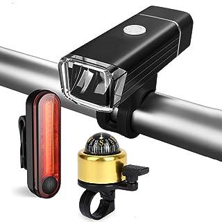 SUKILIU Fanali Posteriori Faro della Bicicletta, USB Ricaricabile Bici Fanale Posteriore Set, Notte Equitazione Fari in Alluminio con Bussola Campana