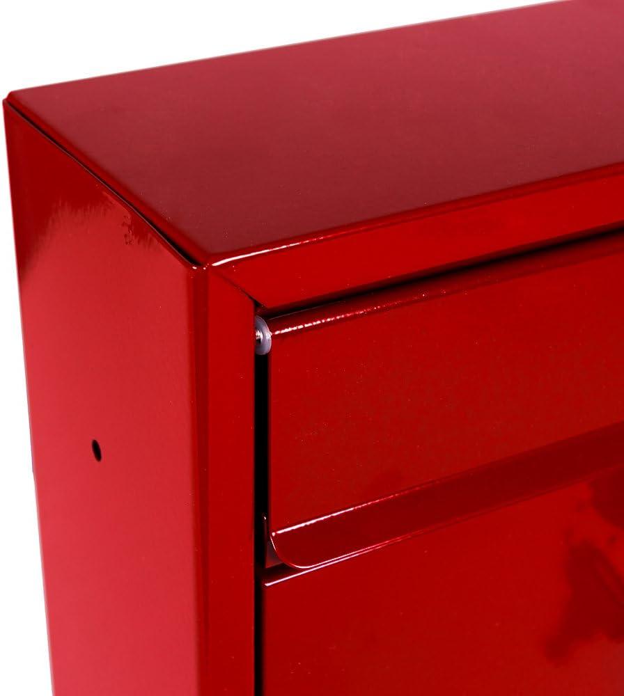 Home Vida cuadrada de acero Carta Buz/ón Buz/ón con cierre de pared color rojo