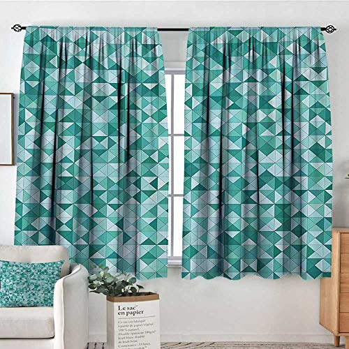 Mozenou Teal Room Darkening Curtains Triangle Mosaic with Polygon Shapes with Artistic Shadows Effect Illustration Print Customized Curtains 72