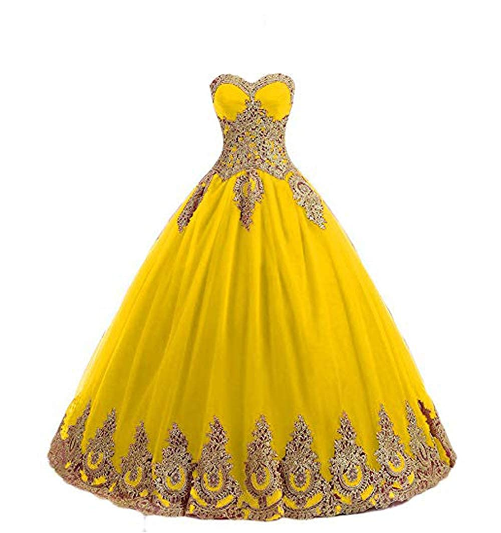 Yellow FTBY Women's Appliques Quinceanera Dresses gold Lace Ball Gown Sweetheart Plus Size Prom Dress