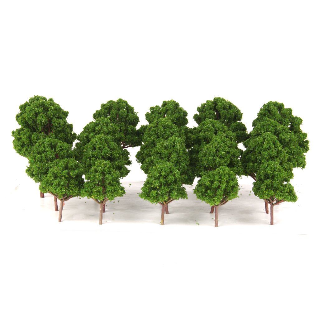 20pcs Green Branched Tree Model Train Railway Garden Park Scenery HO N Scale Generic