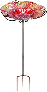 MUMTOP 26 Inch Height Glass Birdbath Birdfeeder with Metal Stake Garden Outdoor Red