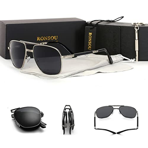 3f14e127b33 Ronsou Men Collapsible Aviator Polarized Sunglasses UV400 Eyewear Glasses  For Driving Fishing Outdoor silver frame gray lens  Amazon.ca  Jewelry