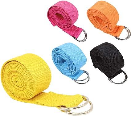 SONSYON Cinturon Yoga - Cinturón de Entrenamiento de Yoga Danza Gimnasia Pilates Algodón Antideslizante Durable Cinturón,5 * Correas, 5 Colores,Tamaño de Correa:183cm*3.8cm: Amazon.es: Deportes y aire libre