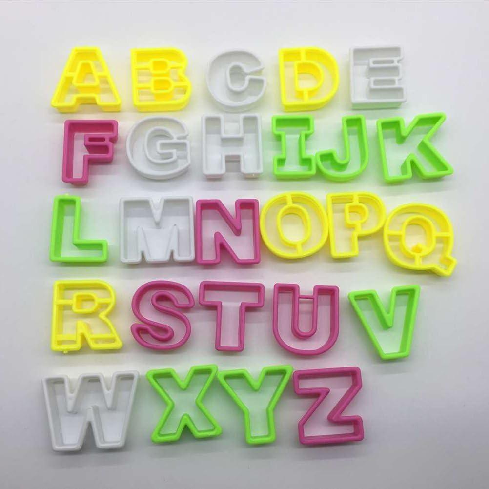 BESTONZON 26pcs Alfabeto Cookie Letter Cutters Biscotti Fondant Baking Mould Playdough Cutters