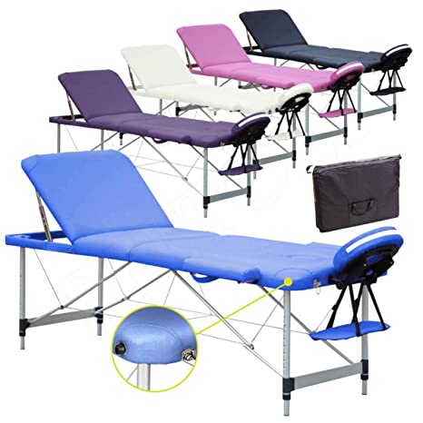 Lettino Massaggio 3 Zone In Alluminio Nuovo 195 X 70 Cm Angoli
