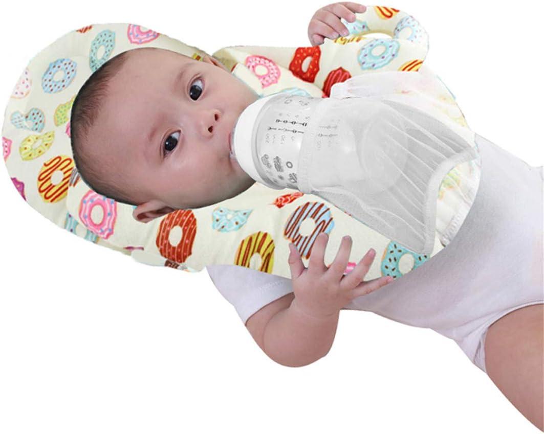 Pink, ONE Size Nursing Cushion Anti Roll Detachable Feeding Pillow Flat Head Cushion Sleep Pillow for Infant Baby