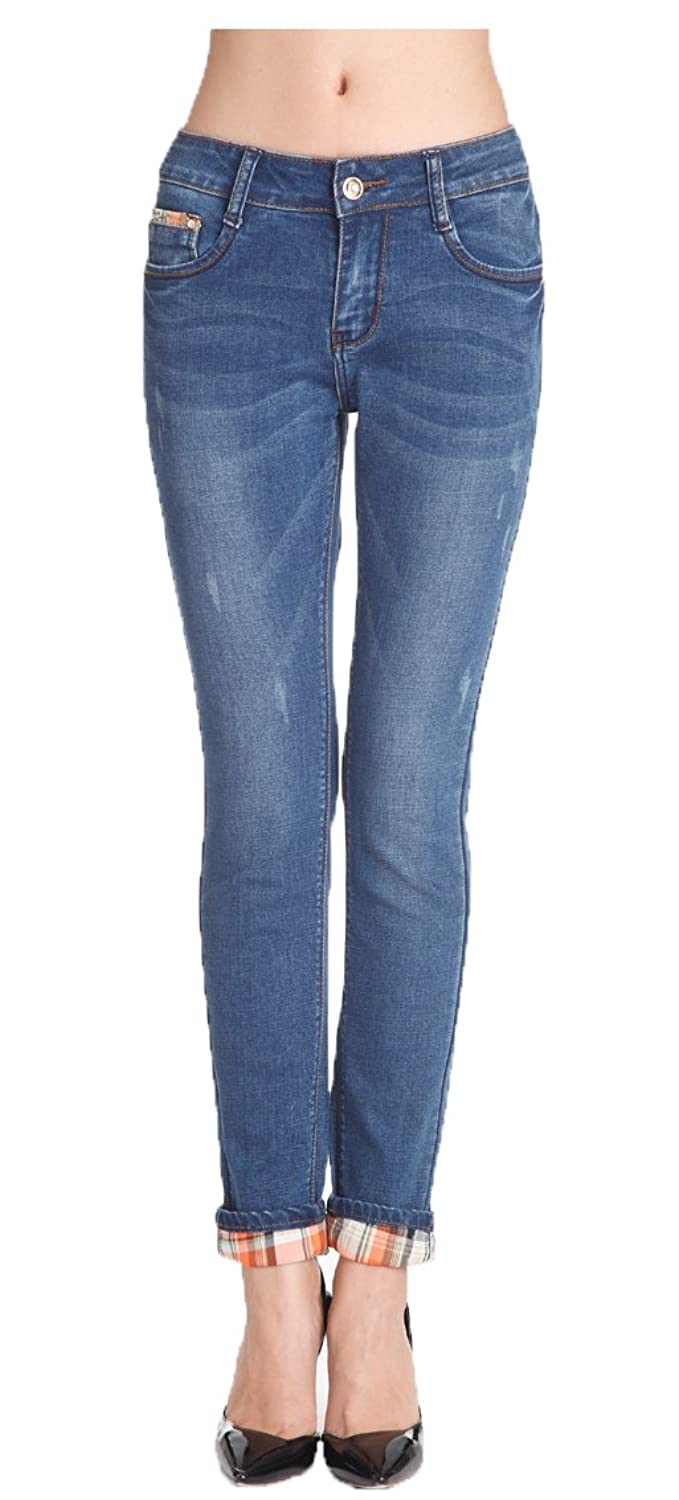 Wantmore Women's Casual Mid Rise Zip?Up?with?Button?Closure Jeans