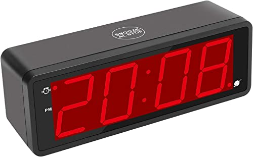 KWANWA Digital Alarm Clock Large Display with 1.8 LED Numbers, Battery Operated Only, 12 24H Time Display, Snooze and Loud Alarm