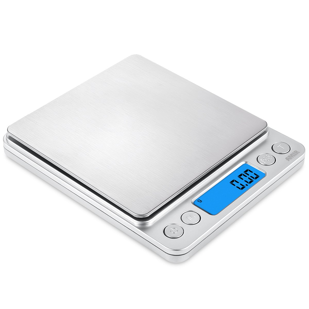 AMIR Digital Kitchen Scale, 500g/0.01g Mini Pocket Jewelry Scale, Cooking Food Scale with Backlit LCD Display, 2 Trays, 6 Units, Auto Off, Tare, PCS Function, Stainless Steel, Battery Included, Black US-KA8B