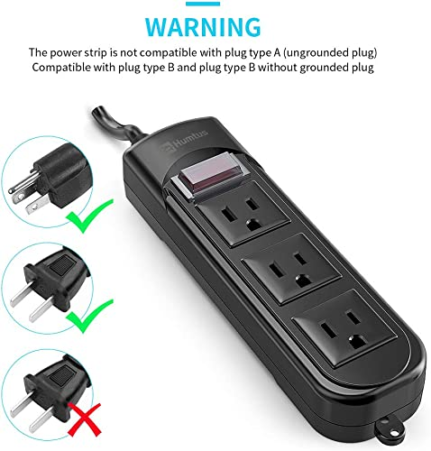 Power Strip Surge Protector Humtus Anti-Electric Shock Weatherproof Power Strip 3-Outlets and 6 Feet Long Cord with Overload Protection for Home Cruise Ship Garden Office, 1650W 15A Black