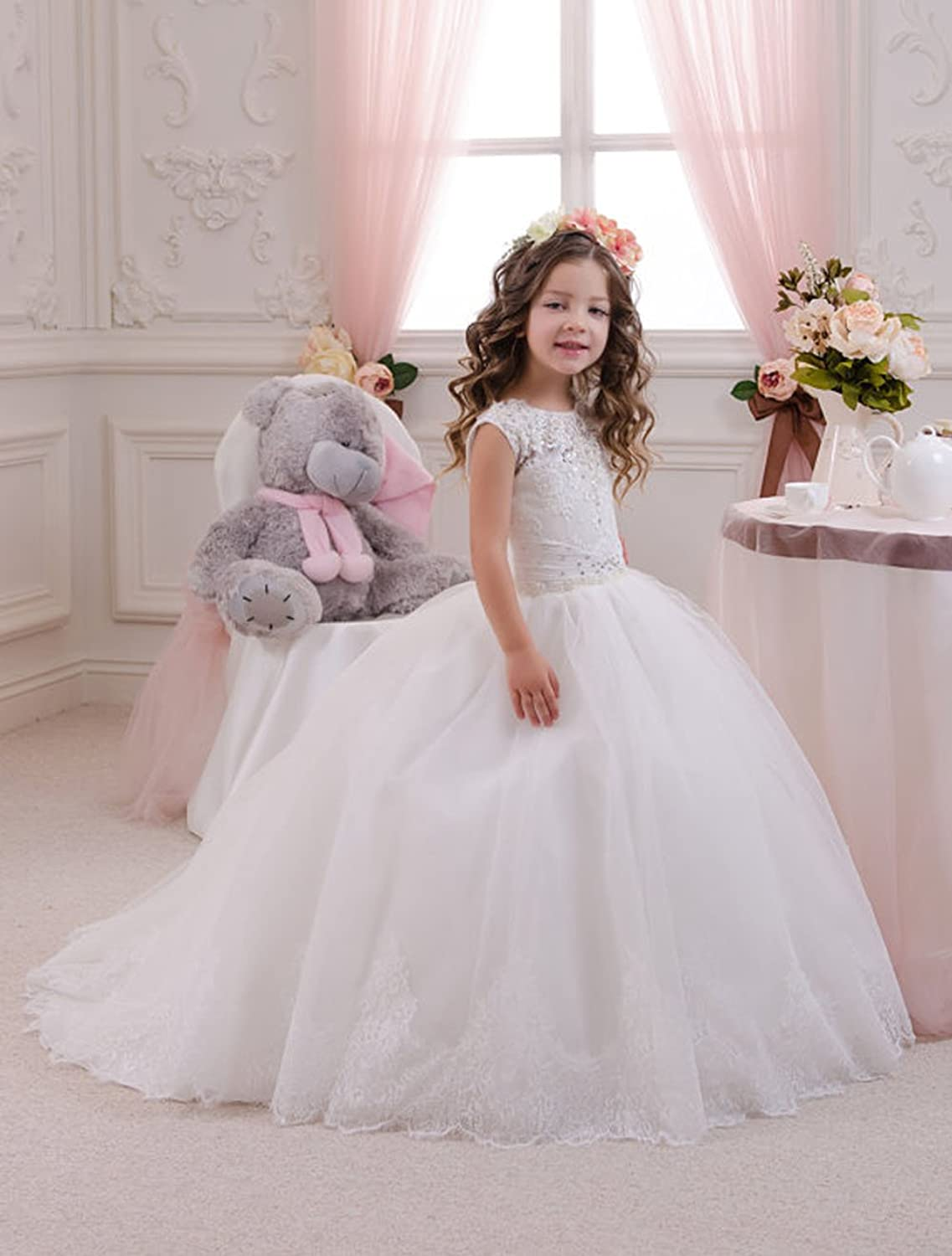 Coco Girls Long Lace/Tulle Wedding girl princess dress kids dress Communion Flower Girl Dress
