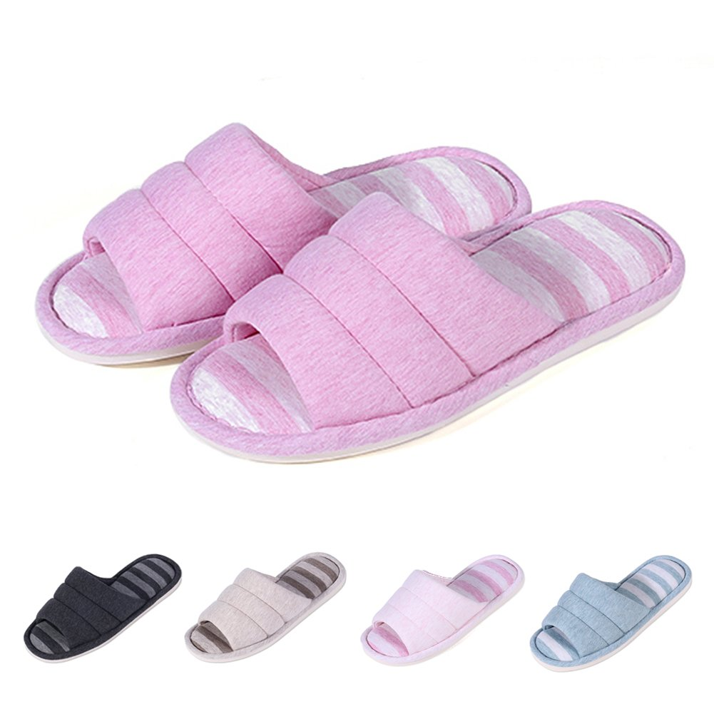 Shevalues Women's Soft Indoor Slippers Open Toe Cotton Memory Foam Slip on Home Shoes House Slippers DP-S