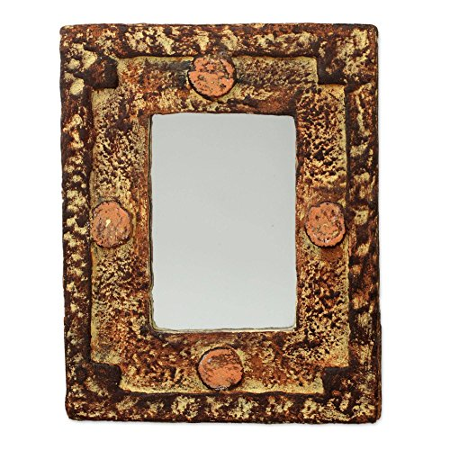 Rustic Sese Wood and Sand Wall Mounted Rectangular Mirror, Hand