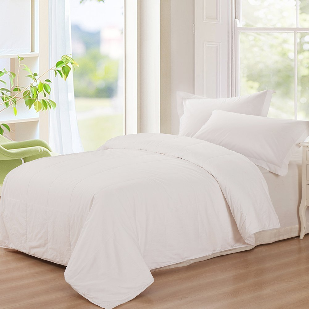 THXSILK Washable Summer Comforter 100% Natural Mulberry Silk Filled in White Cotton Cover, California King 110x96 inch