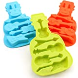Always Your Chef 3 Pack 5-Cavity Silicone Candy Molds & Chocolates Molds & Ice Cube Trays, Guitar Shaped, Random Color