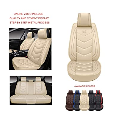 OASIS AUTO OS-003 Leather Car Seat Covers, Faux Leatherette Automotive Vehicle Cushion Cover for Cars SUV Small Pick Up Truck Universal Fit Set Compatible with Toyota-Nissan-Honda-Jeep-Subaru: Automotive [5Bkhe1500090]