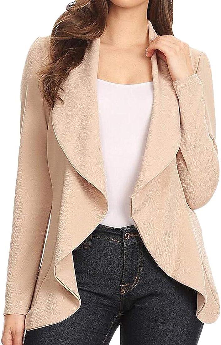 ouxiuli Womens Drape Front Open Long Sleeve Irregular Hem Loose Fit Blazer Cardigan