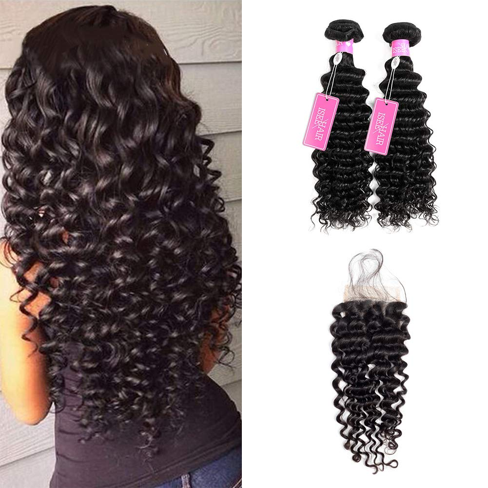 """ISEE Hair 8A Grade Brazilian Deep Wave Virgin Hair With 4""""x4"""" Lace Closure Brazilian Curly Human Hair Weave 3 Bundles Unprocessed Natural Human Hair Extensions (202224&18inches closure)"""