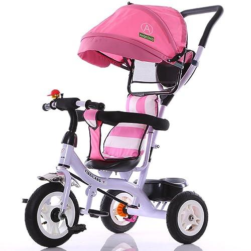 Mode 4-en-1 Enfant Vélo Tricycle Vélo Vélo Fille Fille Pour 6 Mois -6 Ans Vieux Bébé Chariot à Trois Roues Avec Auvent Rose et Parent Poignée | Amortissement | Roue en caoutcho
