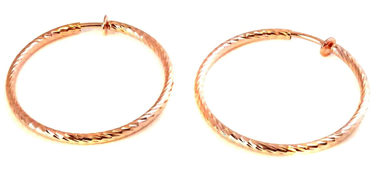 Clip on Earrings Hypo-allergenic Hoop Earrings 3 Inch Rose Gold Swirl Hoop Earrings na