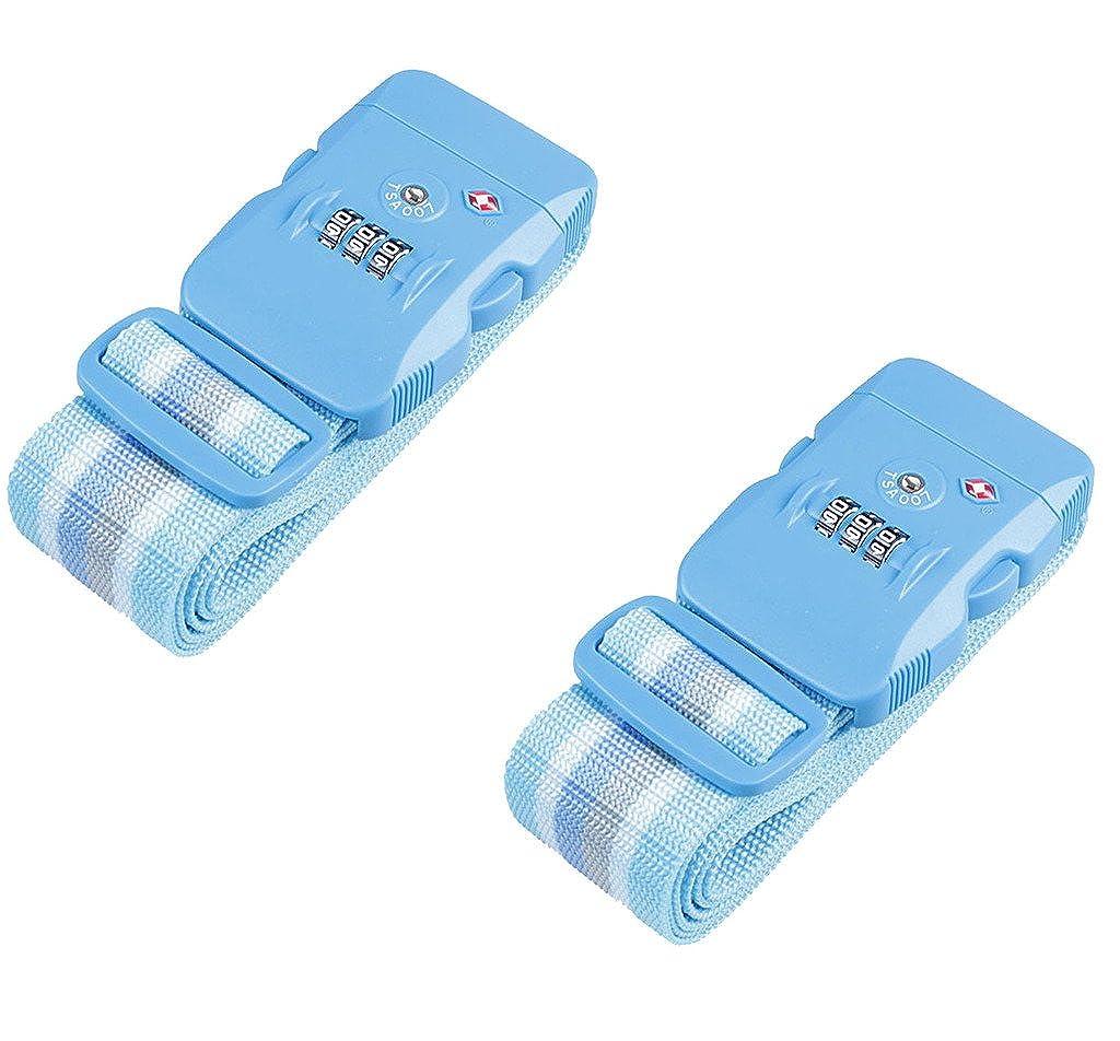 Jasit TSA Approved Coded Lock Travel Luggage Suitcase Belt Stripe Blue