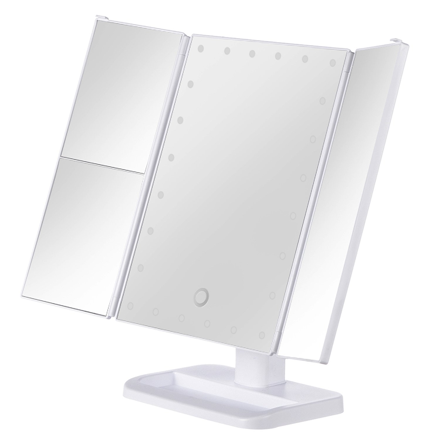 KingKKong Makeup Mirror with 21 LED Lights - 3X/2X Magnifying Makeup Vanity Mirror with Touch Screen, Dual Power Supply, 180° Adjustable Rotation, Countertop Cosmetic Mirror (White) KingKKong Direct
