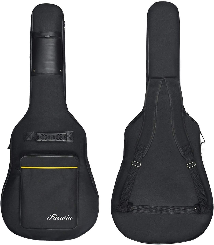 Faswin 41 Inch Guitar Bag Dual Adjustable Shoulder Strap Acoustic Guitar Gig Bag - Black