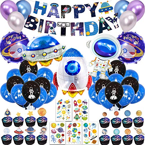 66Pcs Outer Space Birthday Party Supplies for Kids Universe Space Theme Party Decorations with Solar System Happy Birthday Banner Cupcake Toppers Rocket Astronaut Spaceship Balloons Planet Themed Party Supplies Birthday Galaxy Theme Party Decor for Boys Girls (Rocket Birthday)