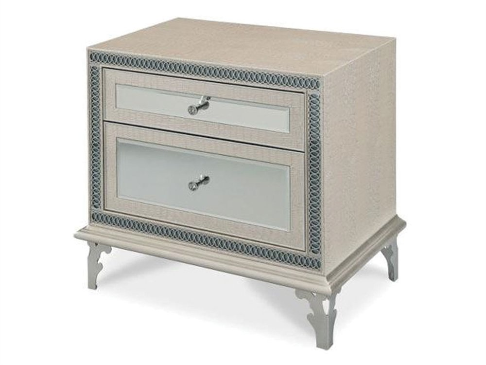 Aico Hollywood Swank Nightstand in Crystal Croc Leather by Michael Amini